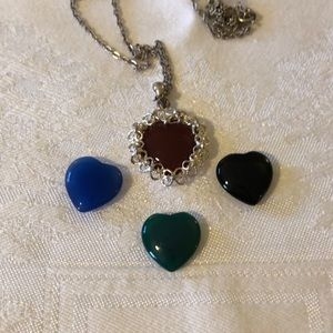 Jewelry - Silver heart necklace w/ 4 interchangeable stones